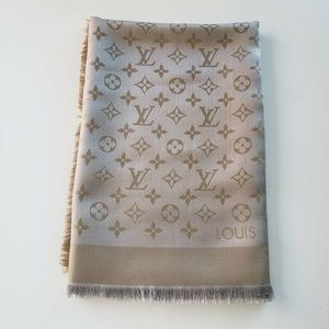 Louis Vuitton Wool Greige Shine Silk Scarf